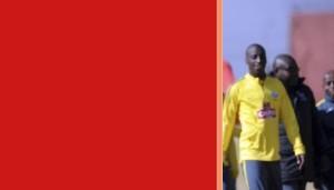 Ndumiso Mabena  and Kwanda Mngonyama during the South Africa Senior Mens team Morning Training session on 01 July 2015 at AW Muller Stadium Pic Sydney Mahlangu/BackpagePix Copyright SAFA