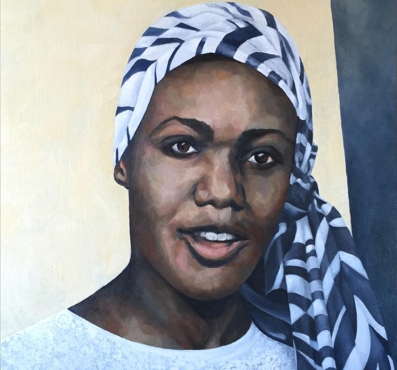 The portrait of Lucy Banda Sichone, by Deirdre Saunder, was unveiled at Oxford's Rhodes House on Wednesday Kirsty Lowe