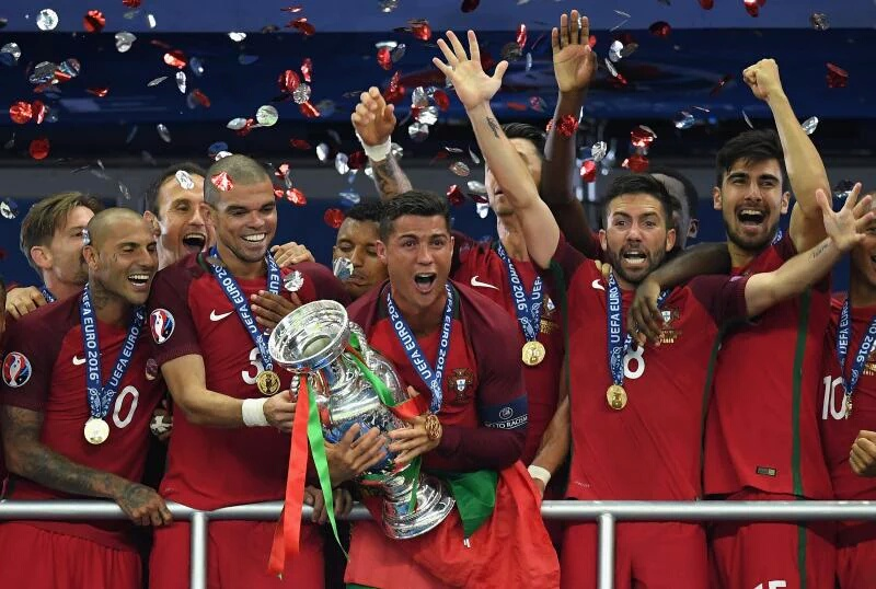 Portugal celebrate winning Euro 2016.