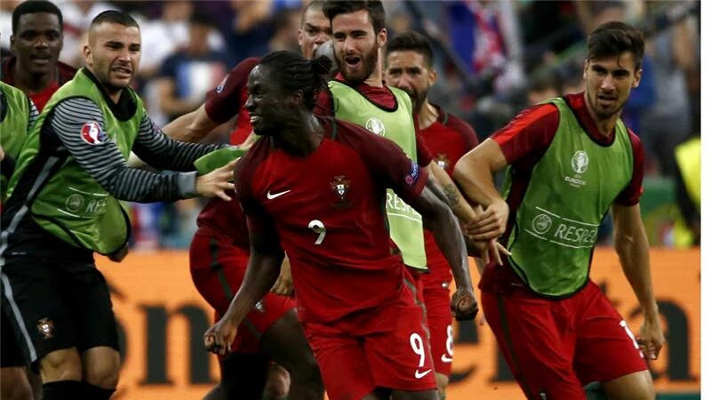 Portuguese striker Eder celebrates after scoring during Euro 2016